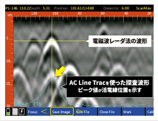 鉄筋直下の活電線探査に威力を発揮!水色の波形がAC Line Tracの測定結果です!